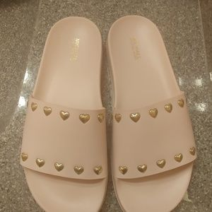 Michael Kors heart studded slide sandals